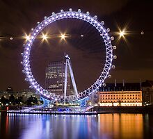 London Eye at night by Anders Hollenbo
