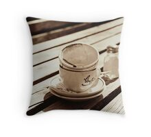 Dirty coffee cups in sepia Throw Pillow