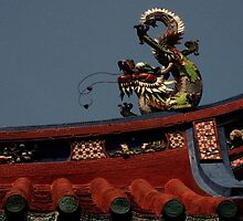 Goddess of Mercy (Quan Yin) Temple - Roof Dragon by David Hutcheson