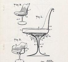 Eero Saarinen - Tulip Arm Chair - Patent Artwork by fascinatingly