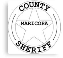County Sheriff Star/Badge - Maricopa County White & Black Canvas Print