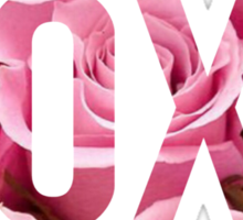 Pink Rose Floral XOXO Design Sticker