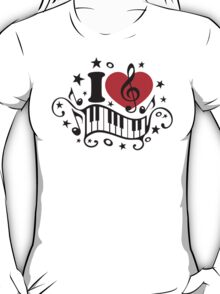 I LOVE MUSIC HEART, Piano, Music Notes, Clef, Bass, Sound T-Shirt