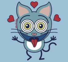 Odd cat showing hearts and feeling crazy in love Kids Clothes