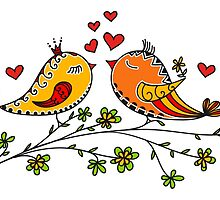 LOVE BIRDS, VALENTINE`S DAY, HEARTS, COLOR by boom-art