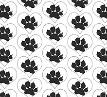 Paw Print In Heart 1 by amanda metalcat dodds