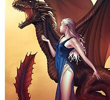 Daenerys Cuddles the Dragon - Game of Thrones by bennyte