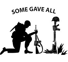 Fallen Soldier - Kneeling - Some Gave All Photographic Print