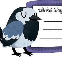 Happy Pied Wagtail Book Plate by Claire Stamper