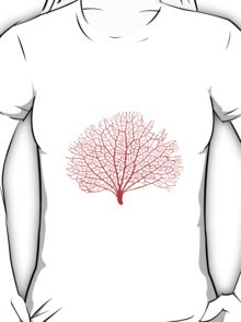 red sea fan coral silhouette T-Shirt