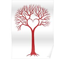 red love tree with heart branches Poster
