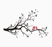 Kissing birds on love tree with red hearts Kids Clothes