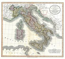 Italy map by John Cary - 1799 by paulrommer