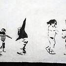 Children Playing: Stencil Art by incurablehippie
