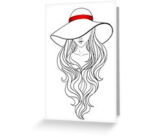 Girl with Long Hair and Hat  Greeting Card
