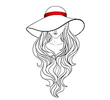Girl with Long Hair and Hat  Photographic Print