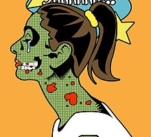 Zombie Pop Art Pin up Skull by TBZZ
