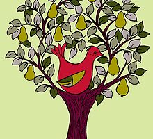 And a Partridge in a Pear Tree - Red by Wendy Howarth