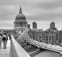 St Paul's Cathedral & Millennium Bridge BW by Karen Martin IPA