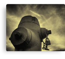 Fire Hydrant Yellow Sky Canvas Print