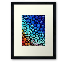 Abstract 2 - Colorful Blue Mosaic Abstract Art Print Framed Print