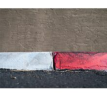No Parking Red and White Curb Photographic Print