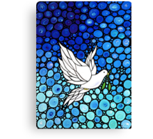Peacefull Journey - White Dove Print Blue Mosaic Art Canvas Print