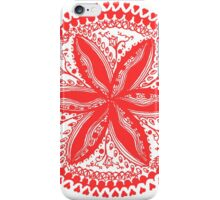 Hearts and Flowers 1 in Red - An Aussie Tangle see description notes for background colour options iPhone Case/Skin