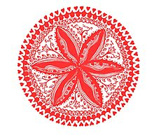 Hearts and Flowers 1 in Red - An Aussie Tangle see description notes for background colour options Photographic Print