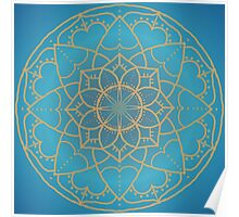 Mandala in Teal and Blue Poster