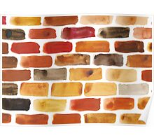 Brick wall - watercolour painting in brown, red and yellow shades Poster