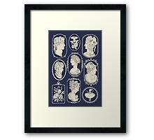 Cameos - blue Framed Print