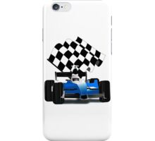 Blue Race Car with Checkered  Flag iPhone Case/Skin