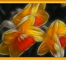 GOLDEN DAFFODILS 'Fractalius' by Peaches1950