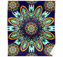 Artistic floral kaleidoscope Poster