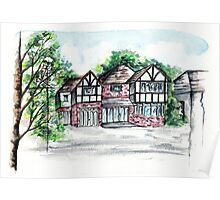 English Tudor-Style House, Watercolour Painting Poster
