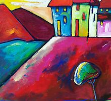 VILLAGE  ON  THE  HILL by ART PRINTS ONLINE         by artist SARA  CATENA
