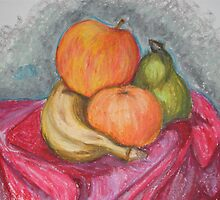 fruit in oil pastel by Samoore