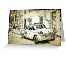 Old Checker cab drawing Greeting Card