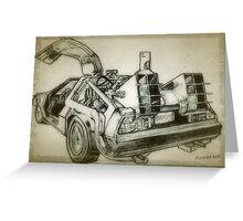 Delorean time machine drawing Greeting Card