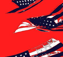 Dynamic Pop Painting of a waving American Flag by StudioDestruct