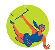 Acrobat Flying Trapeze Act Circle Retro by patrimonio