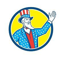 Uncle Sam American Hand Up Circle Retro by patrimonio