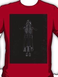 Black Exposure , Girl with Xray in dress and heels with ribcage T-Shirt
