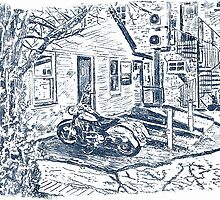 Motorbike behind old Bridgwater Hospital. by Antony R James