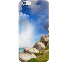 magnificent mountain landscape with clouds and fog relief iPhone Case/Skin