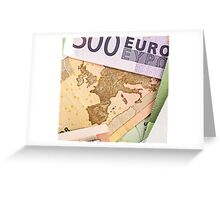 Map of Europe on 50 Euro banknote  Greeting Card