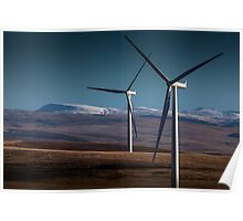 Wind turbines in south Wales Poster