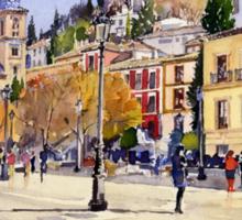 La Plaza Nueva, Granada, Spain Sticker