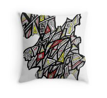 Triangles Design 4 Red, Yellow and Black Throw Pillow